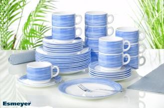 36-teiliges SPARSET BRUSH Blue/ Blau Hartglasgeschirr mit farbigem Dekor, stapelbar, spülmaschinengeeignet