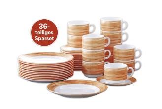 36-teiliges SPARSET BRUSH Orange Hartglasgeschirr mit farbigem Dekor,   stapelbar, spülmaschinengeeignet