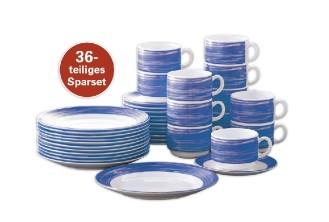 36-teiliges SPARSET BRUSH Bluejean/ Dunkelblau  Hartglasgeschirr mit farbigem Dekor, stapelbar, spülmaschinengeeignet