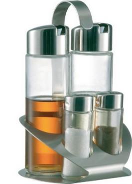 Menage Essig/Öl/Salz/Pfeffer TREND LINE, aus Glas, Oberteil Kunststoff verchromt, Ständer aus 18/10 Edelstahl,