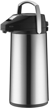 Alfi Isolier-Getränkespender CLASSIC, Inhalt: 2,2 Liter, Pumpspender, Edelstahl poliert, Hartglaseinsatz,
