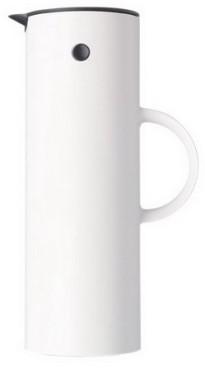 Isolierkanne, Inhalt: 1 Liter, von Stelton, aus Kunststoff, Farbe: weiß, mit Glaseinsatz, Höhe: 300 mm