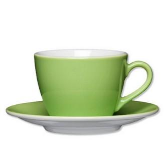 Kaffee-/Cappuccino-Tasse, Inhalt: 0,21 ltr., mit Untertasse Durchmesser: 14,5 cm,  Eschenbach green/hellgrün,