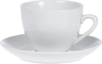 Kaffee-Tasse BISTRO, Inhalt 0,20 ltr., mit Untertasse, UNI WEISS, Henkelform rund, Höhe: 6,5 cm