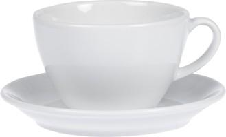 Milchkaffee-Tasse BISTRO, Inhalt: 0,4 ltr., mit Untertasse, Porzellan, UNI WEISS, Henkelform rund, Höhe: 7,6 cm