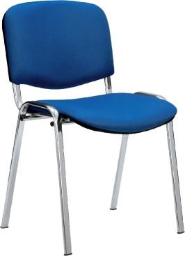 Besucherstuhl KÖLN, Sitzfläche Stoff blau, Gestell aus Stahlrohr, Farbe: aluminium, stapelbar bis max. 12 Stühle