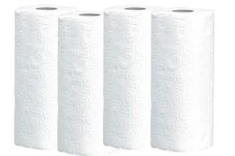 Küchenpapier-Rolle  Inhalt: 4 Rollen, 2-lagig mit 64 Abrissen á Rolle, Maß: 26 x 24 cm.
