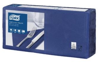 Tork Soft Lunchserviette dunkelblau  33 x 33 cm 1/4 Falz 1 x 150 Stck