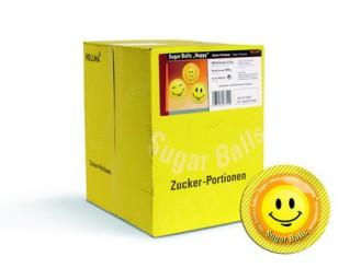 SUGAR BALLS HAPPY von Hellma, Inhalt: 400 Stück à 3,6 g je Karton, Zucker Portions-Packung.