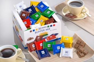 RITTER SPORT MINI Bunte Vielfalt, Inhalt: 84 Stück à 16,67 g je Karton, Mini-Schokoladentafeln in 7 verschiedenen Sorten.