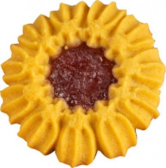FRUCHTTÖRTCHEN, Inhalt: 150 Stück à 8 g je Karton, Spritzgebäck mit Erdbeer-Fruchtauflage.