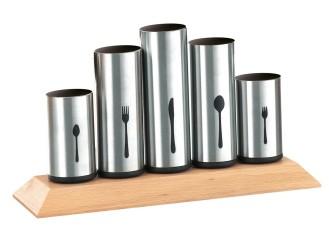 Besteckhalter PIPES,  Material: Edelstahl 18/8 und Gummibaumholz, Maße: ca. 30 x 10 x 16,5 cm.