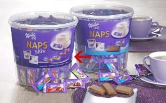 MILKA NAPS MIX, Inhalt: 207 Stück à 4,6 g je Runddose, Alpenmilch, Haselnuss, Erdbeer, Crème au Cacao