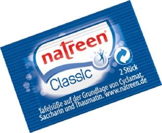 Natreen Classic Süßstoff-Tabletten, Inhalt: 500 Beutel à 2 Stück je Karton.