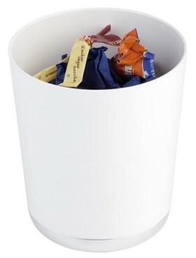 Tischreste- / Besteckbehälter Ø 13 cm, H: 15  cm SAN, weiß mit verchromten Boden BASE CHROM-