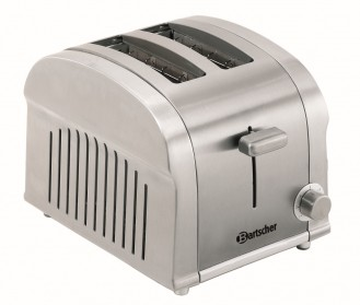 Bartscher 2 Scheiben Toaster TS20 aus Edelstahl  Maße: B 190 x T 265 x H 195 mm