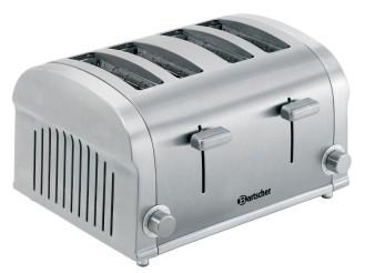 Bartscher 4 Scheiben Toaster TS40, aus Edelstahl, mit 2 unabhängigen Schlitzen, Breite: 320 mm, Tiefe: 270 mm, Höhe: 195 mm