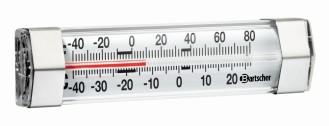 Bartscher Tiefkühl-/Kühlschrank-Thermometer  Messbereich: -40C bis +25C, Edelstahlgehäuse mit Aufhängvorrichtung,