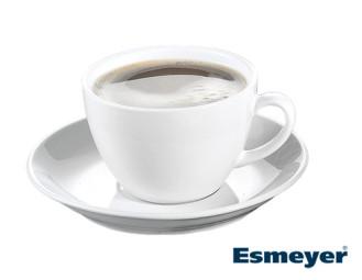 Cappuccino-Tasse BISTRO, Inhalt 0,30 ltr., mit Untertasse, Porzellan, UNI WEISS,  Henkelform rund, Höhe: 7,2 cm