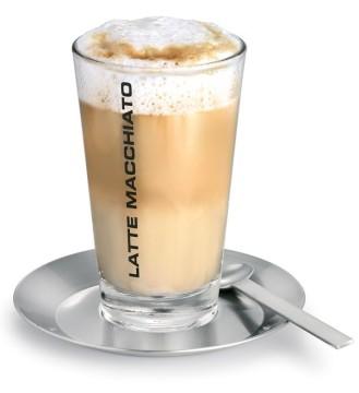 Latte-Macchiato-Set CONO, 3-teilig, 1 Glas (Inhalt: 0,35 Liter, Höhe: 150 mm), mit Untersetzer und Langstiellöffel aus Edelstahl.
