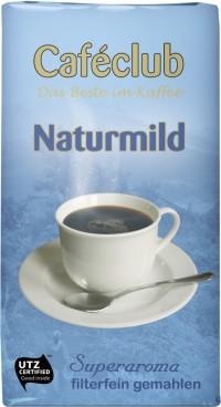 Caféclub NATURMILD, Inhalt: 500 g gemahlener Filterkaffee.