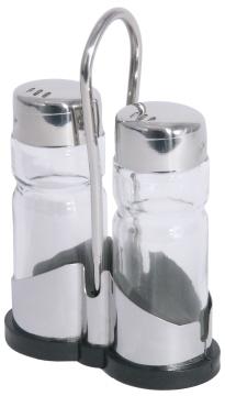 Menage Salz/Pfeffer 3-tlg. NEW LINE, Länge: 8 cm, Breite: 3,5 cm, Höhe: 12 cm, Gestell Edelstahl 18/0 mit schwarzem Kunststoff-