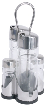 Menage Essig/Öl/Salz/Pfeffer 5-tlg. NEW LINE, Länge: 9,5 cm, Breite: 9,5 cm, Höhe: 22 cm, Gestell Edelstahl 18/0 mit schwarzem Kunststoff-