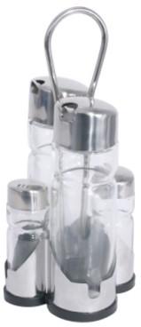 Menage 5-teilig NEW LINE Essig & Öl, Salz & Pfeffer Länge: 9,5 cm, Breite: 9,5 cm, Höhe: 22 cm
