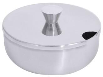 Geleedose aus Edelstahl 18/10, hochglänzend, Knopfdeckel mit Löffelausschnitt,  schwere Qualität Volumen: 0,25 l, Durchmesser: 10