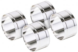 Serviettenringe, rund  Set à 4 Stück, aus versilbertem Messing, Silberschicht 0,5 µ,  anlaufgeschützt, nicht spülmaschinengeeignet
