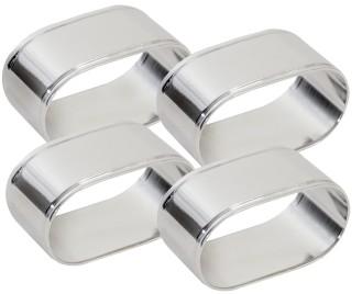 Serviettenringe, oval  Set à 4 Stück, aus versilbertem Messing, Silberschicht 0,5 µ,  anlaufgeschützt, nicht spülmaschinengeeignet Maß: