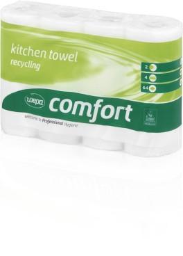 WEPA Comfort Küchenrolle 2-lagig 64 Blatt, 8 x 4  Rollen, 26 x 22cm Eco-Blume, Volumenprägung,  hochweiß