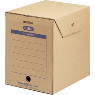 ELBA Archivbox Maxi tric system 23,6 x 30,8 x  33,3 cm (B x H x T) DIN A4 mit Archivdruck  Wellpappe naturbraun