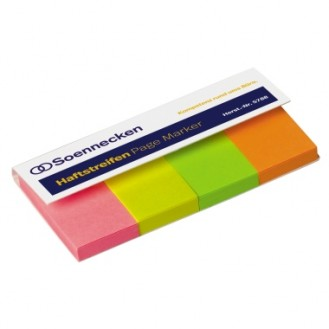 Soennecken Haftstreifen Page Marker 20 x 38 mm (B  x H) 1 x neonpink, 1 x neongelb, 1 x neongrün, 1  x neonorange 50 Bl./Block 4 Block/Pack.