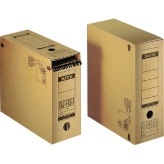 Leitz Archivbox Premium 12 x 27 x 32,5 cm (B x H  x T) DIN A4 mit Archivdruck Wellpappe  recycelt/Natronpapier, kaschiert naturbraun
