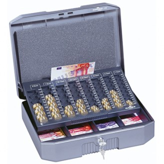 DURABLE Geldkassette €UROBOXX® 35,2 x 12 x 27,6  cm (B x H x T) 4 Fächer für Banknoten mit Schloss  Metall silbergrau