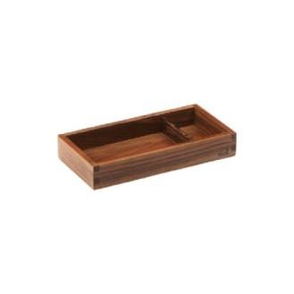 Holzbox m. Unterteilung, 24,4x12,4x4cm, walnuß
