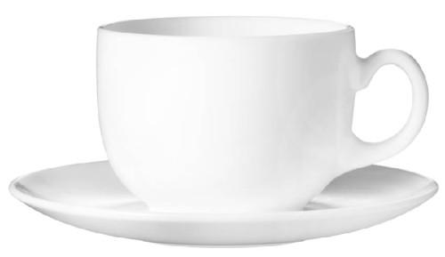 Kaffeetasse 22 cl mit Untertasse 14 cm Durchmesser Form EVOLUTION uni weiß - Arcoroc