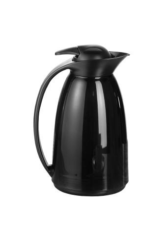 Isolierkanne LOFT, Inhalt: 1,0 Liter,  Farbe: schwarz, Höhe: ca. 235 mm,  mit Glaseinsatz und Einhandbedienung
