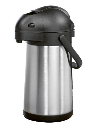Pump-Isolierkanne / Pumpspender STREAM,  Inhalt: 1,9 Liter, aus doppelwandigem Edelstahl,  Höhe: 32,7 cm, Durchmesser: 15 cm.