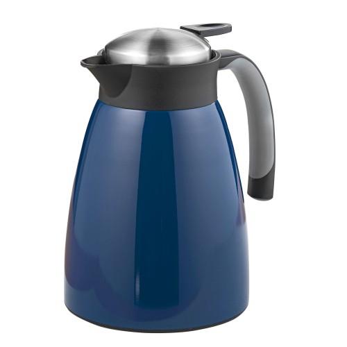 Isolierkanne GLACE, Inhalt: 1 Liter,  aus doppelwandigem Edelstahl, dunkelblau lackiert.