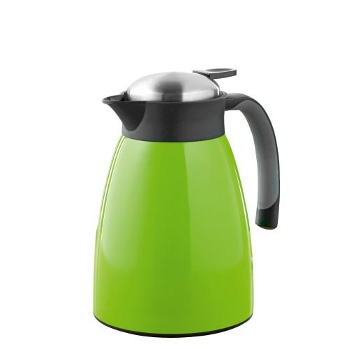 Isolierkanne GLACE, Inhalt 1 Liter aus doppelwandigem Edelstahl, grün lackiert