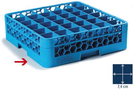 Carlisle Gläser-Grundkorb OPTICLEAN, 50x50cm, blau, 36 Fächer à 7,4 x 7,4 cm, Höhe 8 cm