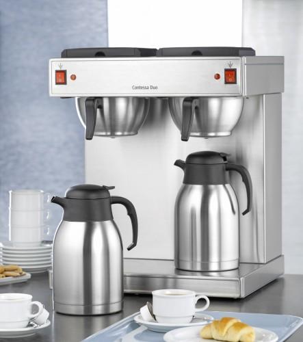 Bartscher Doppel-Kaffeemaschine CONTESSA DUO, aus Chromnickelstahl mit 2 Edelstahl-Isolierkannen Breite: 430 mm, Tiefe: 400 mm, Höhe: 520 mm