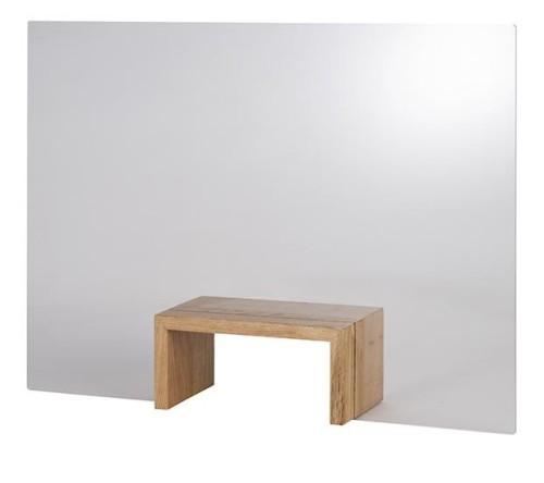 """APS Hygieneschutzwand """"Bridge""""  mit Öffnung, mit rutschhemmenden Füßen aus Holz Maße: 75 x 57 cm"""