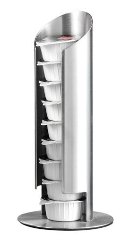 Milchkapselspender MEMPHIS,  Material: Edelstahl 18/10, gebürstet Höhe: 175 mm, Durchmesser: 80 mm.