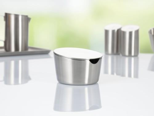 Zuckertopf mit Deckel VISTA, Edelstahl 18/10, Durchmesser: 100 mm, Höhe: 62 mm, Inhalt: 230 g, mit gebürsteter Oberfläche, im Geschenkkarton