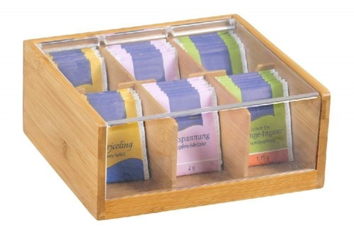 Teebox EARL GREY, aus Bambusholz, mit 6 Fächern, mit Kunststoff-Sichtklappe, FSC zertifiziert, Maße: 220 x 210 x 95 mm,