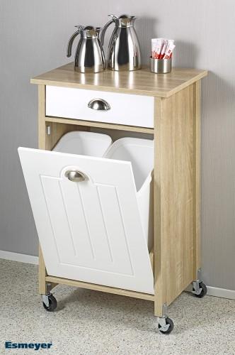 Küchenwagen ECOLO auf Rollen mit 2 Mülleimern. aus Holz-Faserplatte in der  Farbe Sonoma Eiche. Maße: Breite 50 x Höhe 78,5 x Tiefe 37 cm.