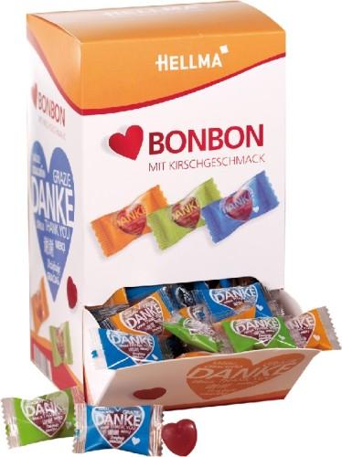 HERZ-BONBON, Inhalt: 240 Stück à 3,4 g je Spenderbox, Kirschgeschmack.